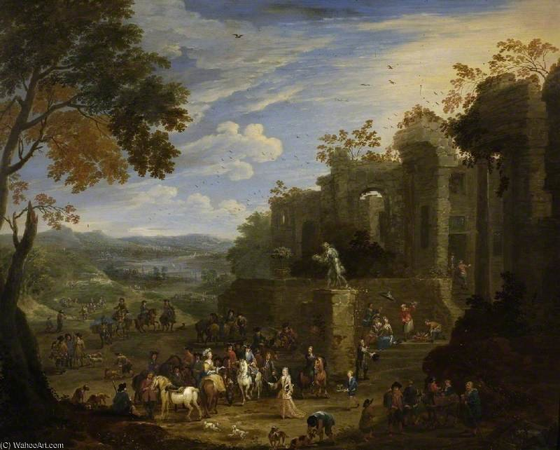 Landscape With A Hunting Party by Mathys Schoevaerdts (1665-1710, Belgium)