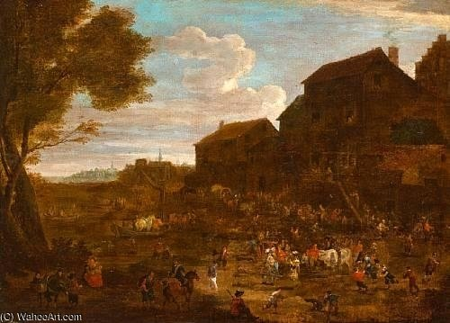 The Village Fête by Mathys Schoevaerdts (1665-1710, Belgium)