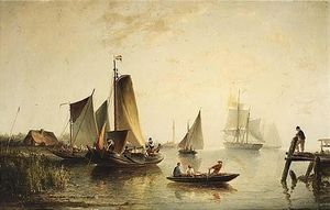 Nicolaas Riegen - A River Landscape With Sailing..