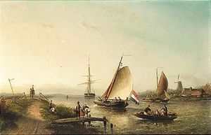 Nicolaas Riegen - A River Scene With Sailing Vessels And Figures On A Riverbank