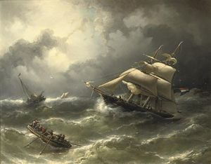 Nicolaas Riegen - A Two-master Caught In Stormy ..