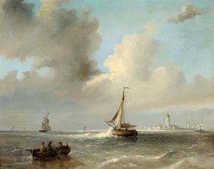 Nicolaas Riegen - Men In A Barge And Sailing Boa..