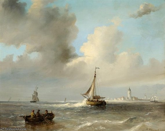 Men In A Barge And Sailing Boats Off A Coast by Nicolaas Riegen (1827-1889, Netherlands)