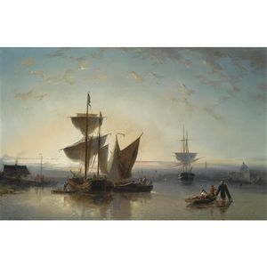 Nicolaas Riegen - Moored Sailing Vessels, A Town..