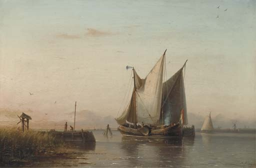 Sailing Vessels In A Calm Estuary At Dusk by Nicolaas Riegen (1827-1889, Netherlands)