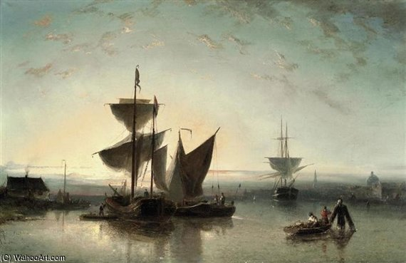 Shipping On A Calm Near A Harbour by Nicolaas Riegen (1827-1889, Netherlands)