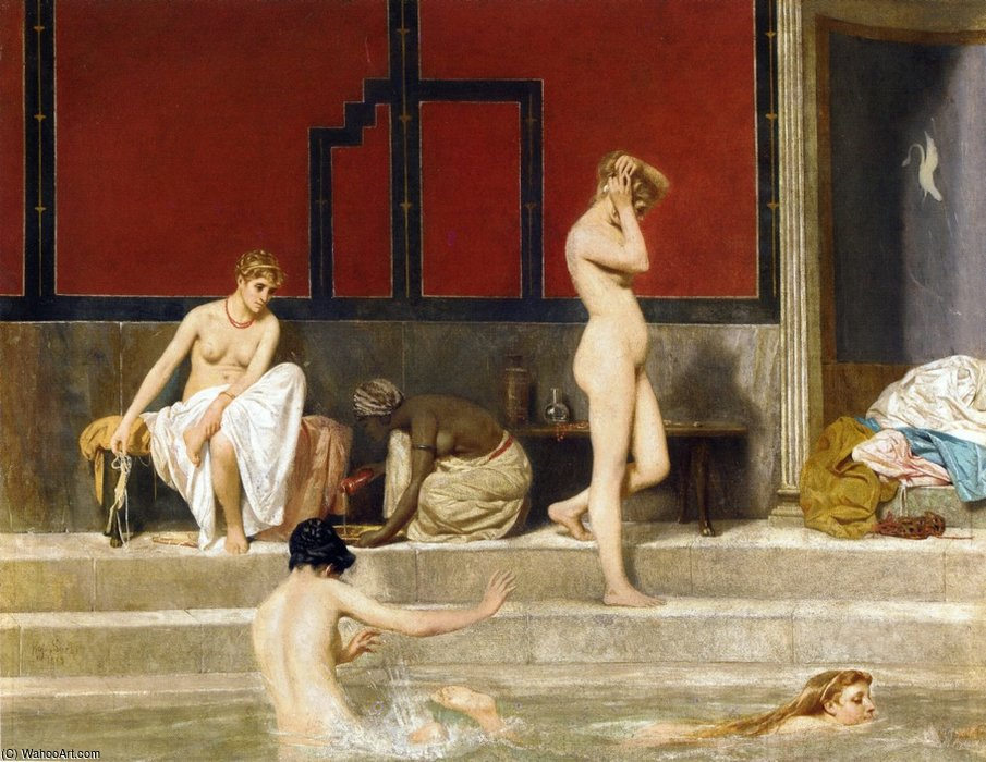 Elegant Ladies At The Baths by Raffaelo Sorbi (1844-1931, Italy) | Museum Quality Copies Raffaelo Sorbi | ArtsDot.com