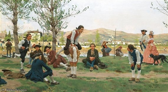 Saltarello Cavallucio (a Game Of Leapfrog) by Raffaelo Sorbi (1844-1931, Italy) | Paintings Reproductions Raffaelo Sorbi | ArtsDot.com