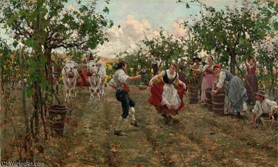 The Harvest Dance by Raffaelo Sorbi (1844-1931, Italy) | ArtsDot.com