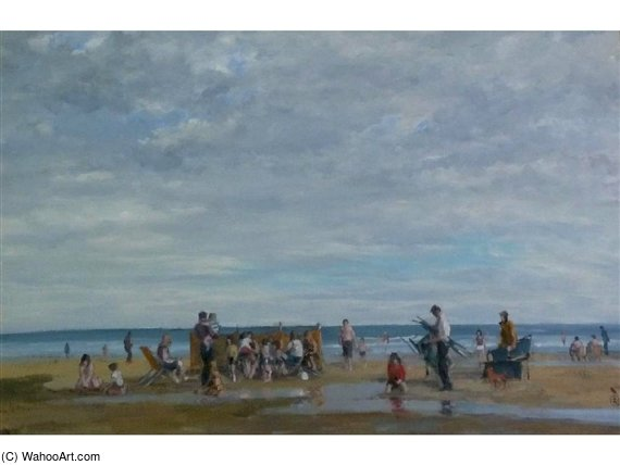 'beach Scene, Llandudno', With Holiday Makers by Robert Dudley (1826-1909, United Kingdom)
