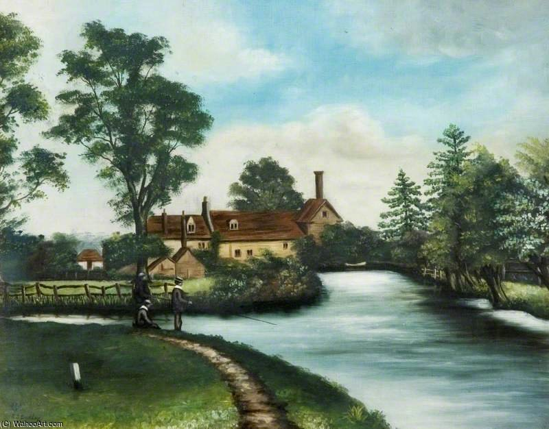 River Scene With View Of A Mill by Robert Dudley (1826-1909, United Kingdom)