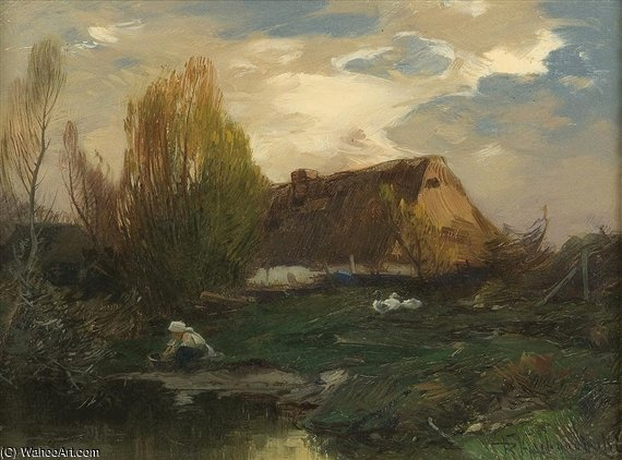 Landscape, Cottage On The Water by Roman Kochanowski (1857-1945, Poland)