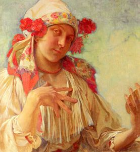 Alfons Maria Mucha - young girl in a moravian ..