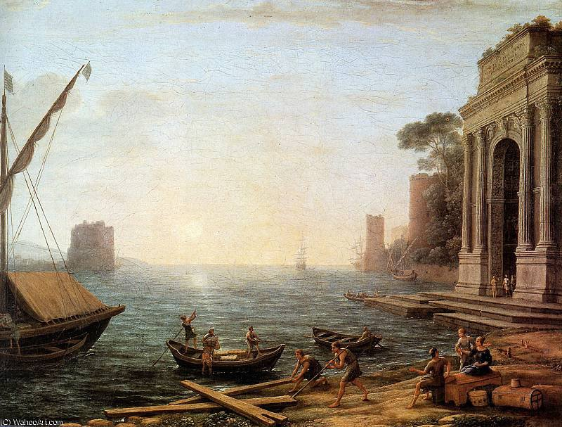 Harbour at sunset Sun by Claude Lorrain (Claude Gellée) | Museum Quality Reproductions | ArtsDot.com