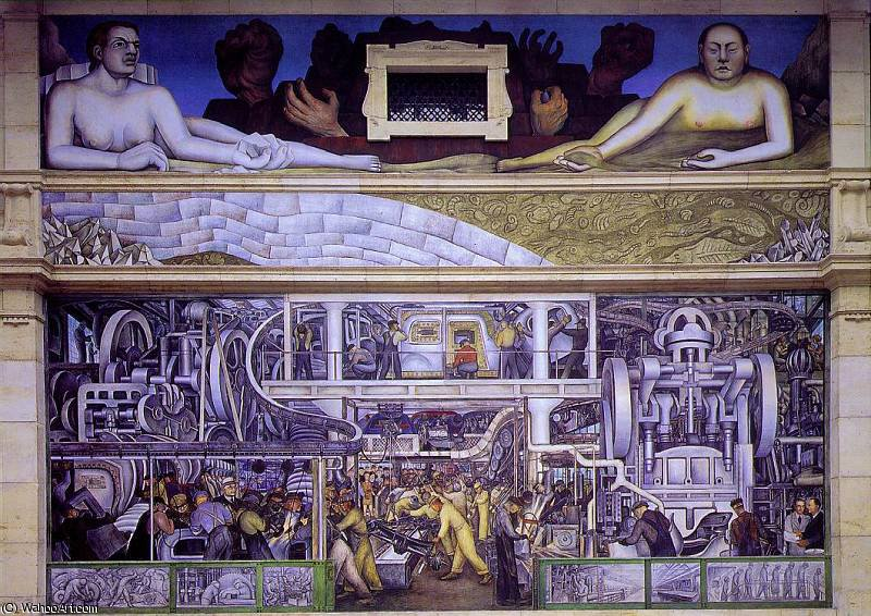 detroit industry, south wall, 1933 by Diego Rivera (1886-1957, Mexico)