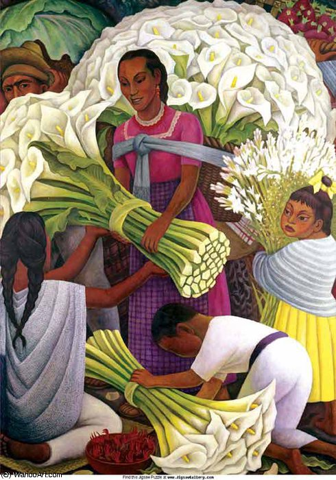 the flower seller, 1886 by Diego Rivera (1886-1957, Mexico) | Museum Art Reproductions | ArtsDot.com