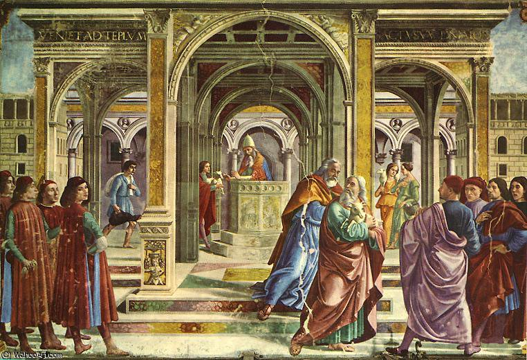 expulsion of joachim from the temple by Domenico Ghirlandaio (1449-1494, Italy)