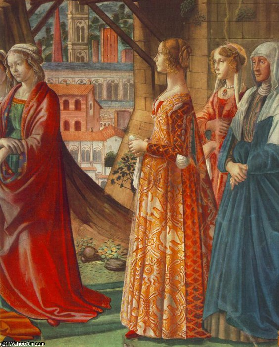 giovanna tornabuoni and her accompaniment by Domenico Ghirlandaio (1449-1494, Italy)
