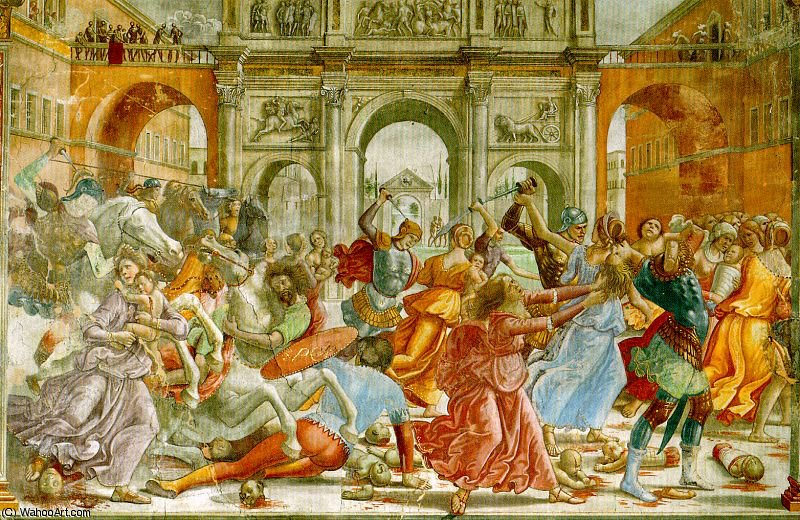 slaughter of the innocents by Domenico Ghirlandaio (1449-1494, Italy)