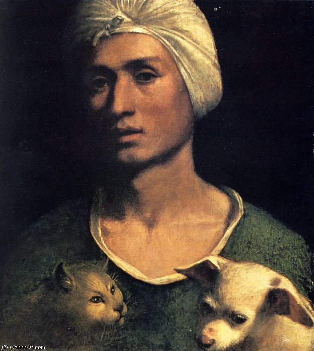 portrait of a young man with a dog and a cat by Dosso Dossi (Giovanni Di Niccolò De Luteri) (1486-1542, Italy) | ArtsDot.com