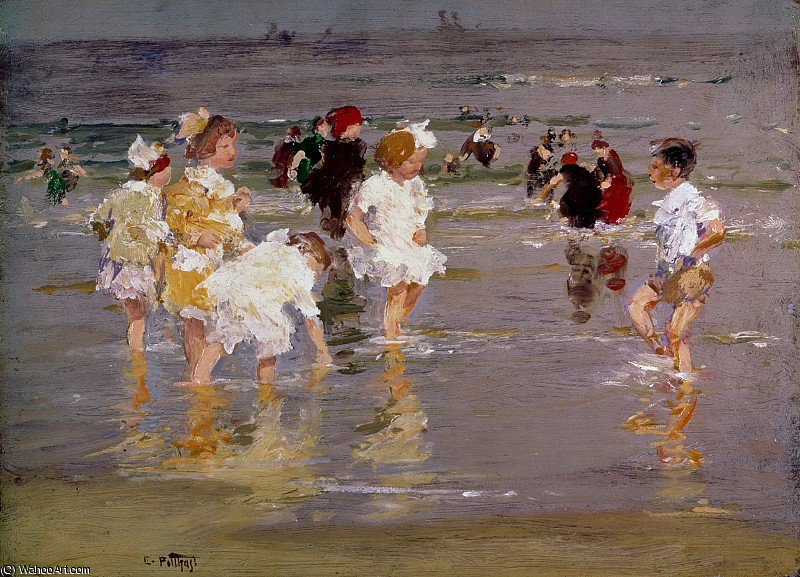 Children on the Beach by Edward Henry Potthast (1857-1927, United States) | Reproductions Edward Henry Potthast | ArtsDot.com
