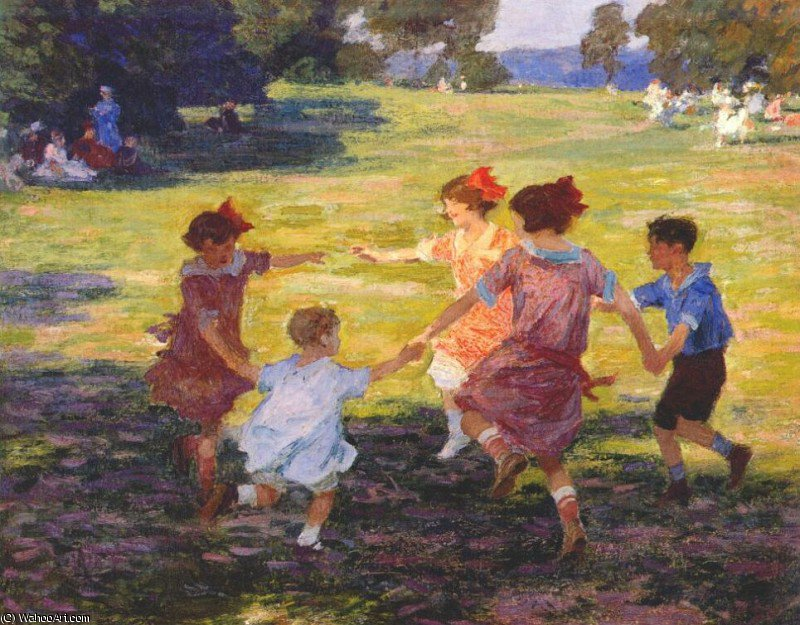 ring around the rosie, 1915 by Edward Henry Potthast (1857-1927, United States) | Paintings Reproductions Edward Henry Potthast | ArtsDot.com