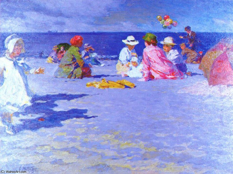 the balloon vender, 1910 by Edward Henry Potthast (1857-1927, United States) | Paintings Reproductions Edward Henry Potthast | ArtsDot.com