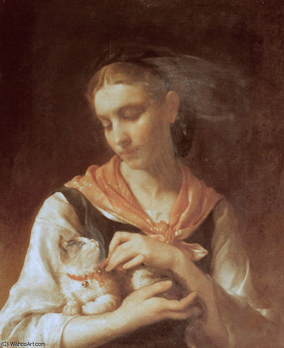 the favorite kitten by Emile Munier (1840-1895, France)