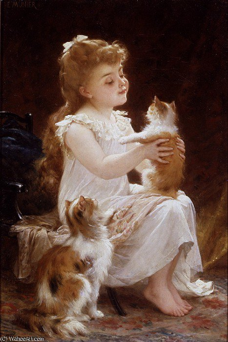 playing with the kitten, 1893 by Emile Munier (1840-1895, France)