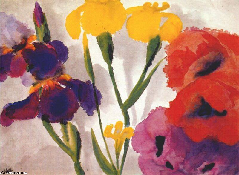 irises and poppies by Emile Nolde (1867-1956, Germany)