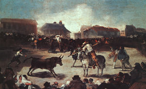 Francisco De Goya - Village Bullfight - oil on wood -