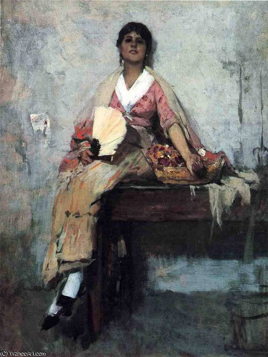 flower girl by Frank Duveneck (1848-1919, United States)