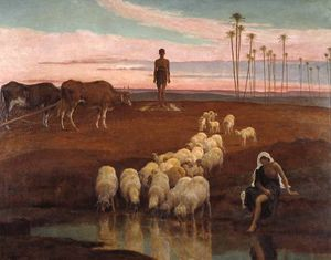 Frederick Goodall - The Ploughman and the Shepherdess Time of the Evening Prayer