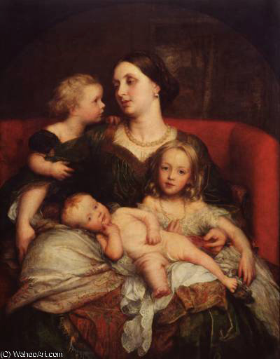 Mrs George Augustus Frederick Cavendish Bentinck and her Children by Frederick Waters Watts (1800-1870, United Kingdom)