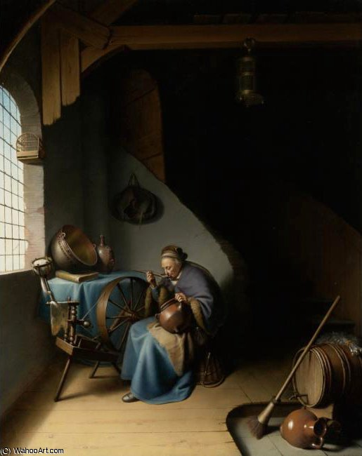 An Elderly Woman Seated by a Window at her Spinning Wheel Eating Porridge by Gerrit Dou