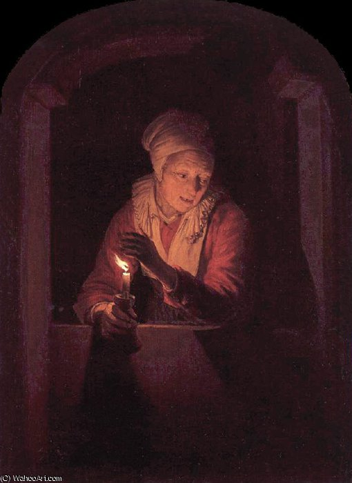 candle by Gerrit (Gérard) Dou (1613-1675, Netherlands)