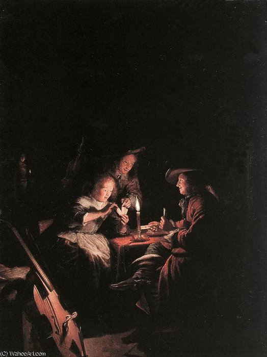 Order Art Reproduction : Cardplayers at Candlelight by Gerrit (Gérard) Dou (1613-1675, Netherlands) | ArtsDot.com