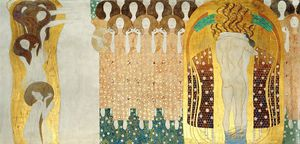Gustav Klimt - Beethoven Frieze; The Arts, Choir of Angels, Embracing Couple