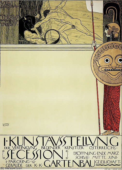 Order Painting Copy : Poster for the 1st Secession exhibition by Gustav Klimt (1862-1918, Austria) | ArtsDot.com
