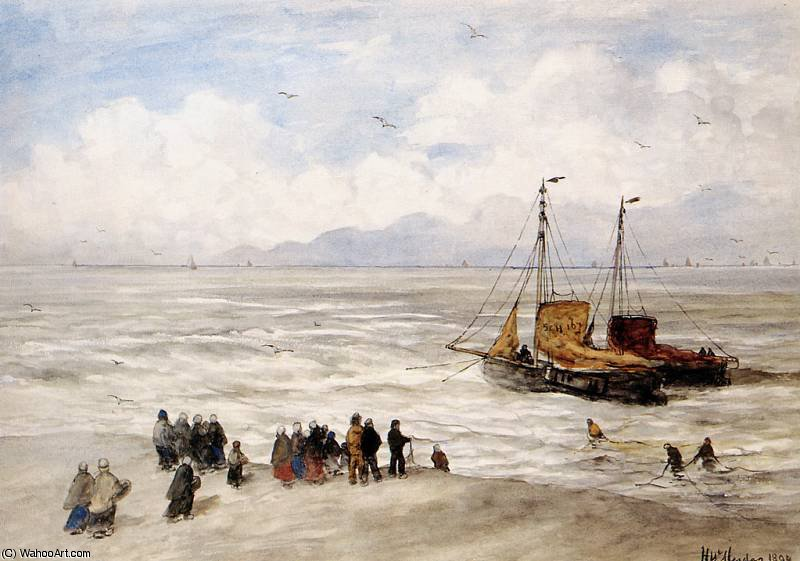 beach scheveningen sun by Hendrik Willem Mesdag (1831-1915, Netherlands)