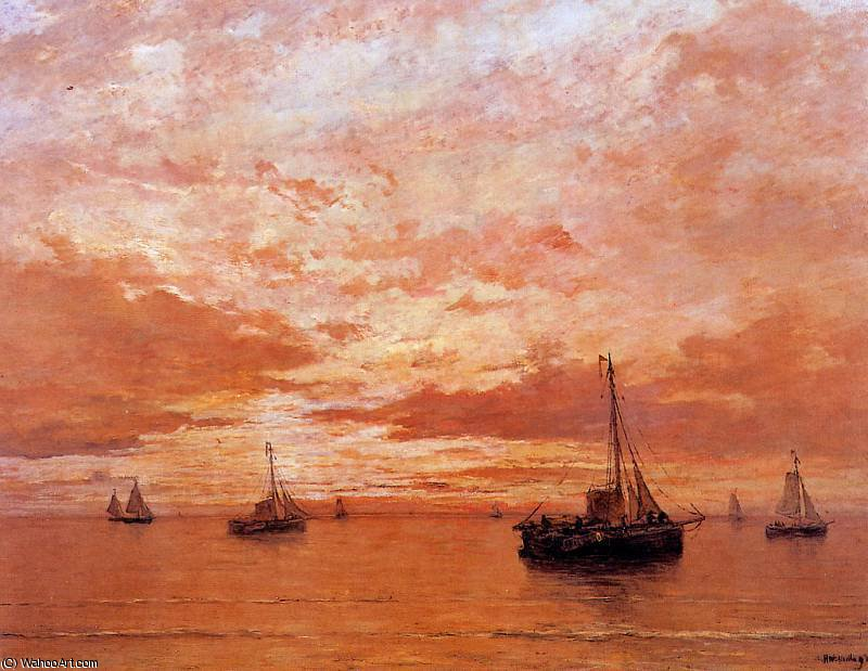 calm sea sun by Hendrik Willem Mesdag (1831-1915, Netherlands)