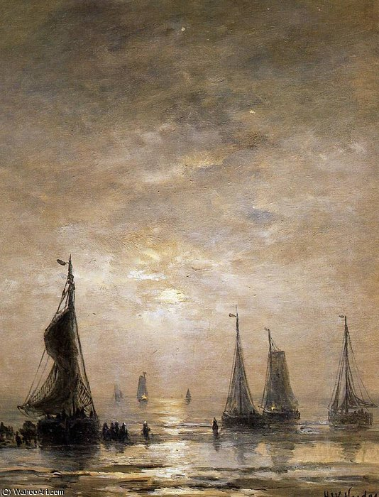 evening mood sun by Hendrik Willem Mesdag (1831-1915, Netherlands)