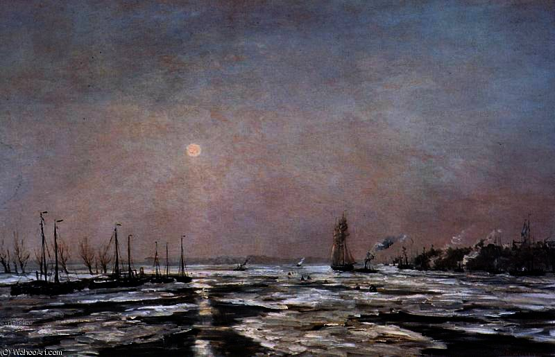 ice on the river sun by Hendrik Willem Mesdag (1831-1915, Netherlands)