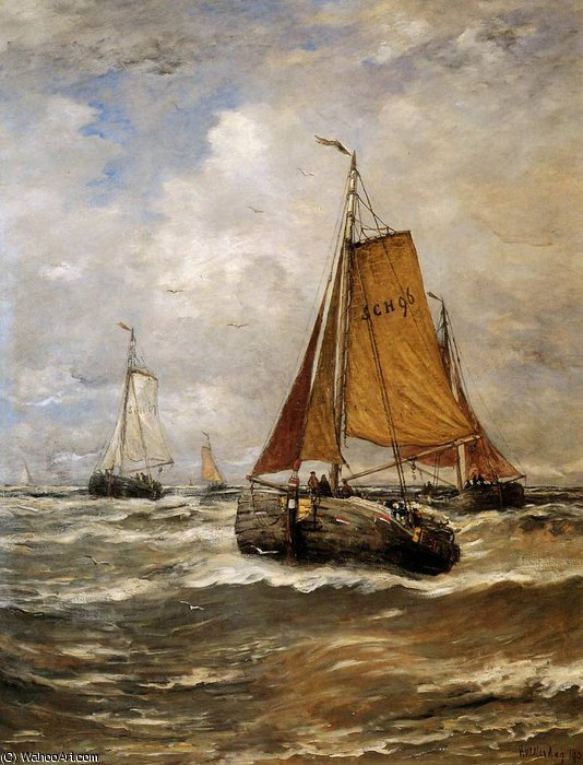incoming ships sun by Hendrik Willem Mesdag (1831-1915, Netherlands)