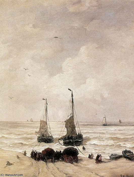 loading of the nets sun by Hendrik Willem Mesdag (1831-1915, Netherlands)
