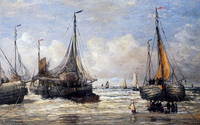 marine sun by Hendrik Willem Mesdag (1831-1915, Netherlands)