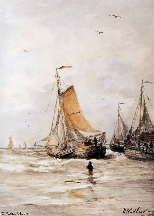 pinks for anchor sun by Hendrik Willem Mesdag (1831-1915, Netherlands)