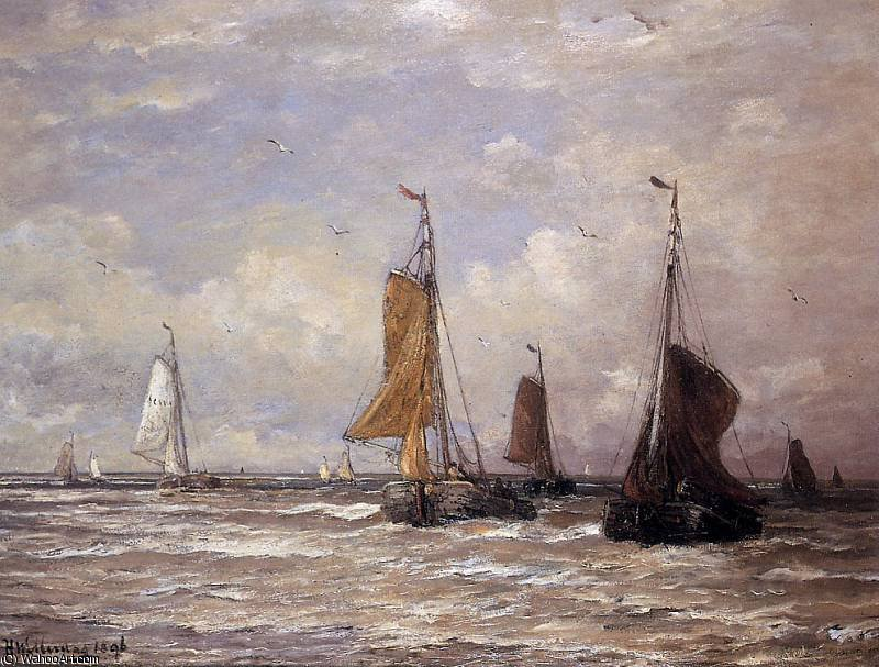 sailing boats sun by Hendrik Willem Mesdag (1831-1915, Netherlands)