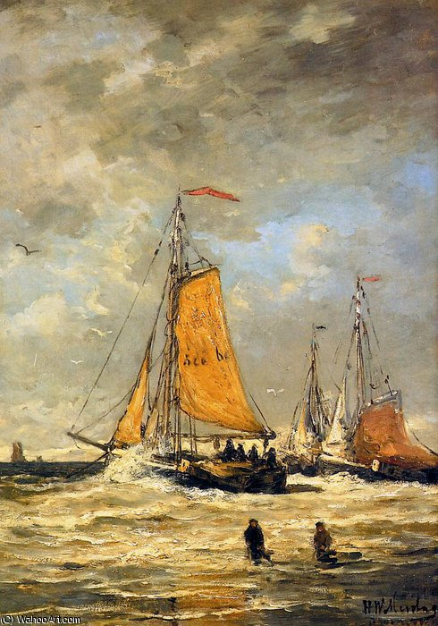 sailing pinks at scheveningen sun by Hendrik Willem Mesdag (1831-1915, Netherlands) | ArtsDot.com