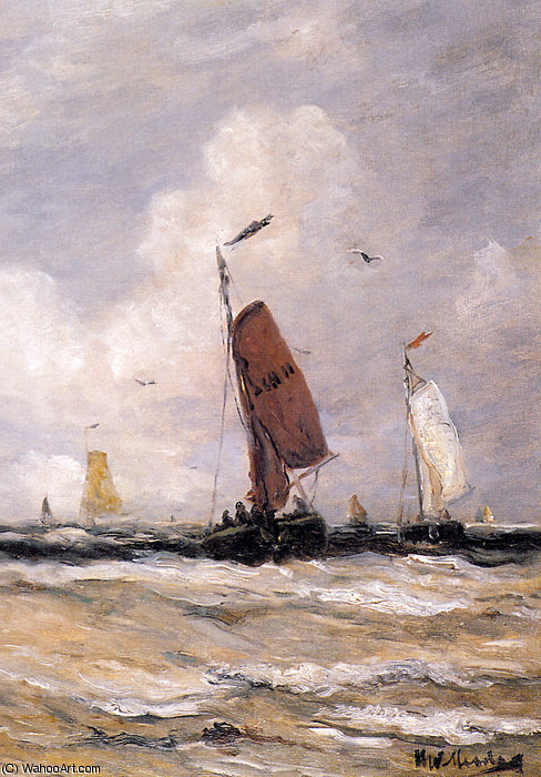 Sea with fishingboats Sun by Hendrik Willem Mesdag (1831-1915, Netherlands)